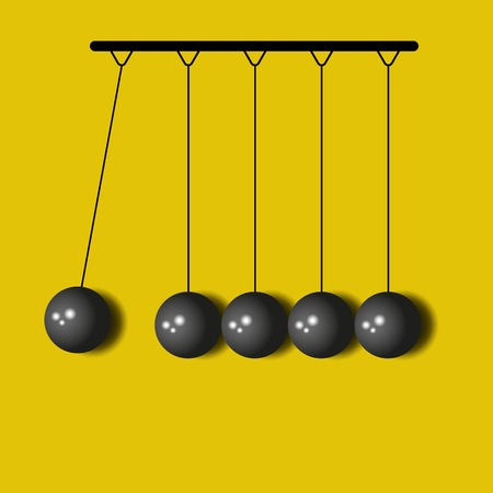 Perpetuum Mobile, balls Newton, yellow business background