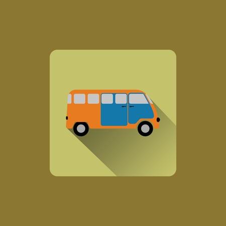 Cartoon minibus, flat icon design Vector