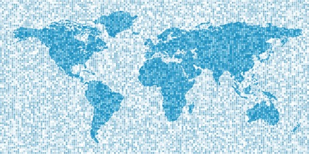 pixelate: Map of the world, mosaic style, abstract background