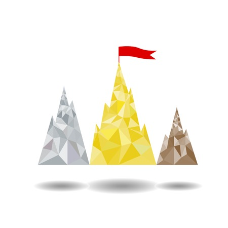 achieving: Podium in the form of mountain peaks, achieving the goal Illustration