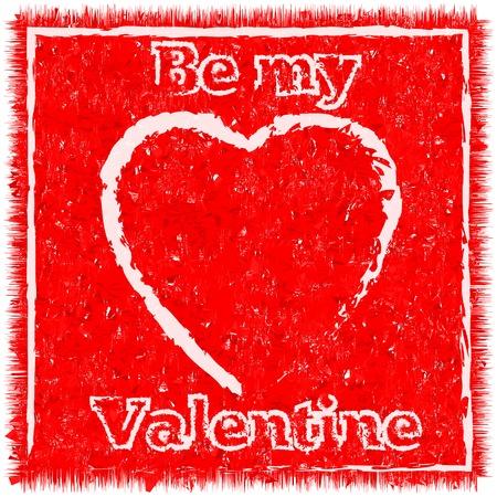worn: Be my Valentine worn card in vintage style, grunge heart texture