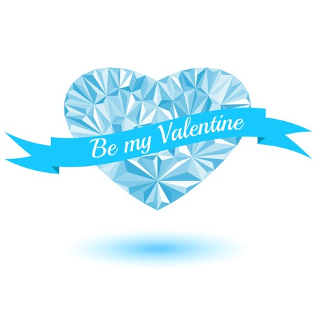 Be my Valentine, blue heart of the triangles, ribbon with text Vector