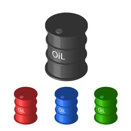 metal barrel: Set of colorful metal industrial barrel oil Stock Photo