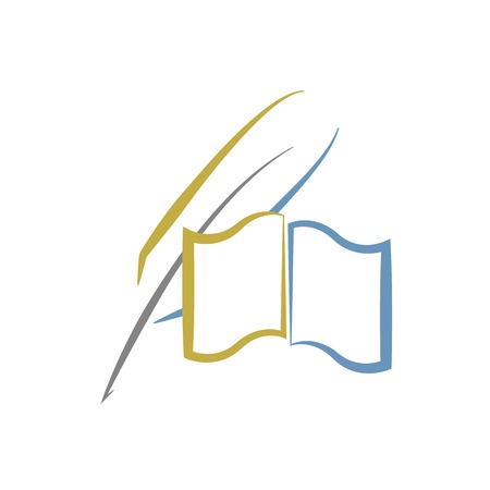 Book and feather, education or literature logo