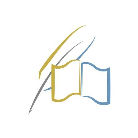 pera: Book a peří, vzdělání nebo literatura logo Ilustrace