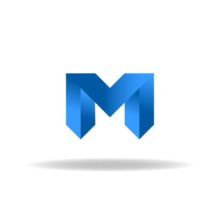 M - blue letter, web or business abstract  向量圖像