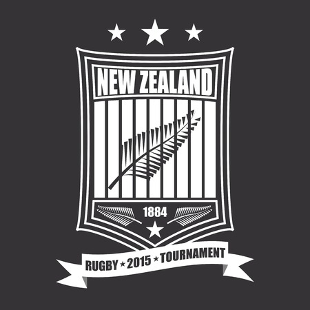 Rugby tournament emblem in the New Zealand, sport icon Vector