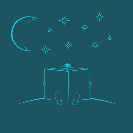 leggere libro: Chid seduta e leggere il libro Vettoriali