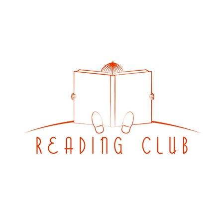 leggere libro: Bambino seduto e leggere il libro, la lettura logo del club