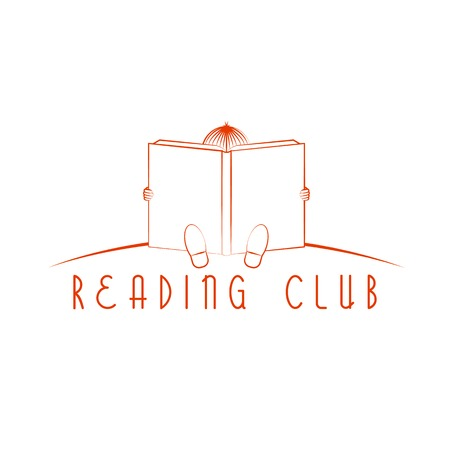 child sitting: Child sitting and read book, reading club logo