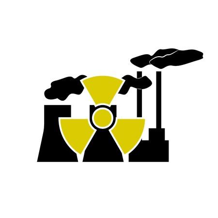 radioactive sign: Estaci�n nuclear y radiactivo signo