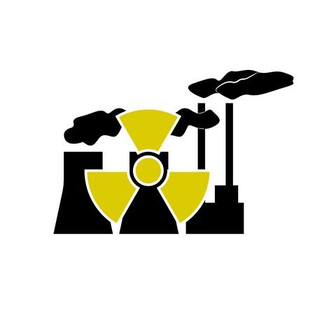 nuclear sign: Nuclear station and radioactive sign