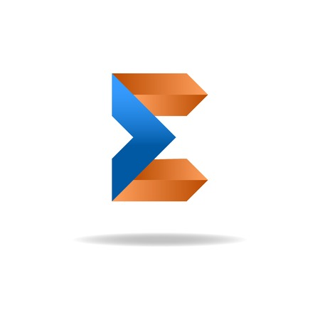 e business: E letter - blue and orange business sign, icon for website