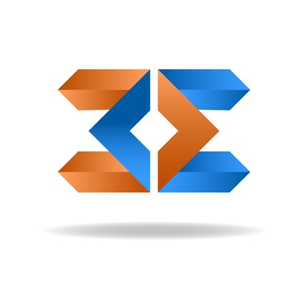 3d alphabet letter abc: Two letter E - blue and orange business sign, icon for website