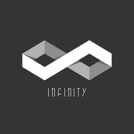 infinity icon: 3D Infinity sign of the two rhombus, geometric illusion, overlapping technique
