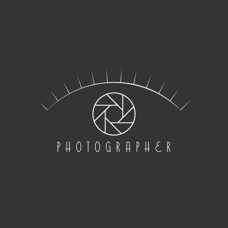 optics: Aperture of the camera as the eye of the photographer site logo Illustration