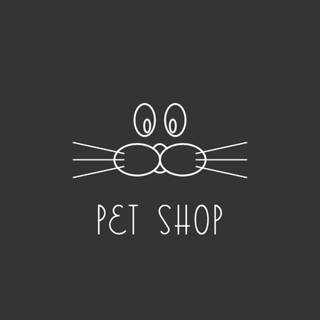 pet services: Muzzle dog or cat, logo pet shop