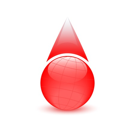 Blood drop, globe sign, donor day Vector