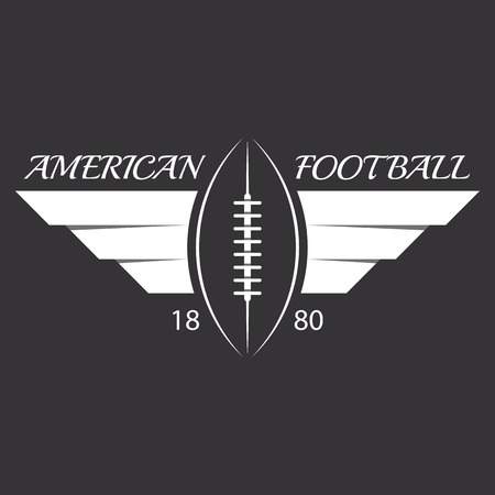 American football or rugby ball with wings, sport logo, overlapping effect Vector
