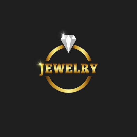 Gold ring with diamond, jewelry logo on the black background Vector