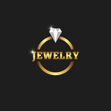 Gouden ring met diamant, juwelen logo op de zwarte achtergrond