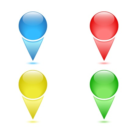 Set of colored checkpoints, navigation pins Vector