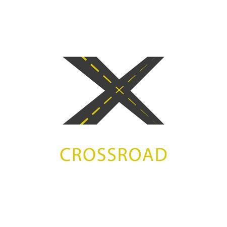 cruce de caminos: Icono Crossroad, se�al de tr�fico Vectores