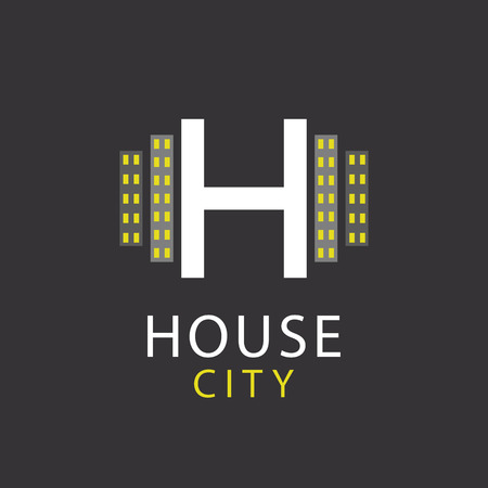 sign h: H letter, house, architecture icon Illustration