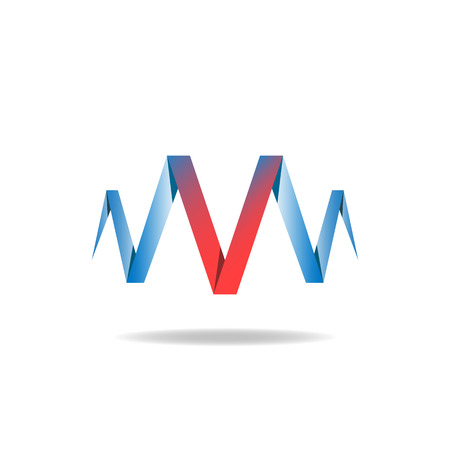 technique: V - red letter of the blue ribbon, idea, overlapping technique