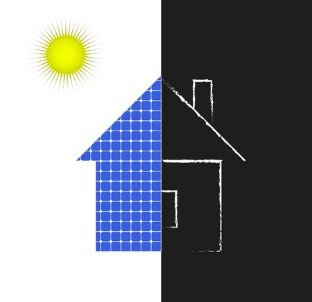 clean energy: House with solar panels icon, the concept of clean energy
