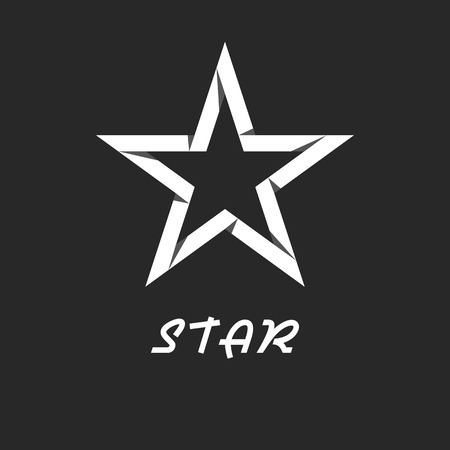 polyhedral: Paper star mockup black and white logo, design graphic icon Illustration