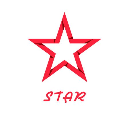 polyhedral: Star red of paper, design logo, web icon
