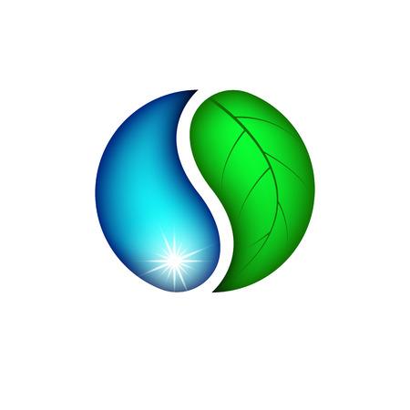 gota de agua: Caída de agua y plantas de hoja, logotipo ecológico