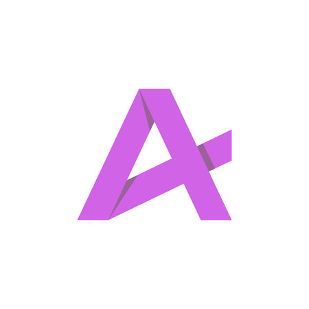 Purple letter A mockup business logo, graphic icon Vector