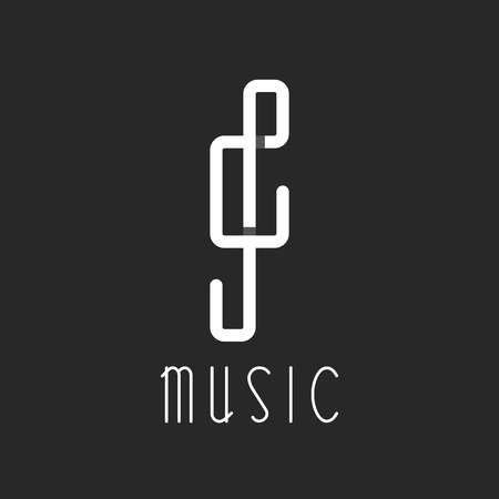 Music key logo, overlapping lines, black and white icon Illustration