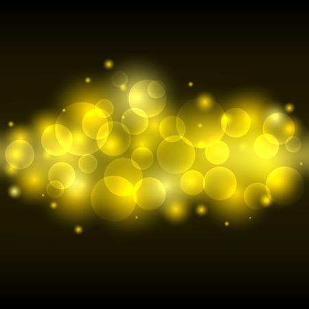 golden dusk: Blurred yellow light, lens gold bokeh background Illustration