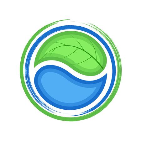 Eco-logo, groen blad en blauwe druppel water, pictogram ecologie