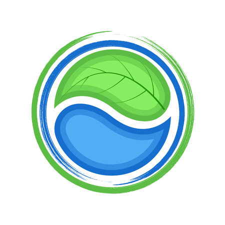 Eco logo, green leaf and blue drop water, ecology icon Vettoriali