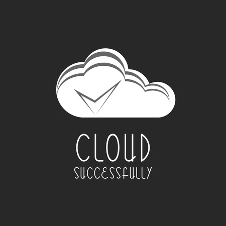 check mark sign: Cloud icon, check mark sign, the process is completed Illustration
