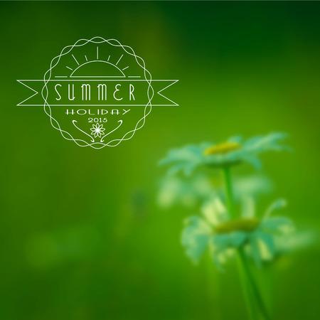 Summer holidays emblem, blured flowers background, idea of travel poster