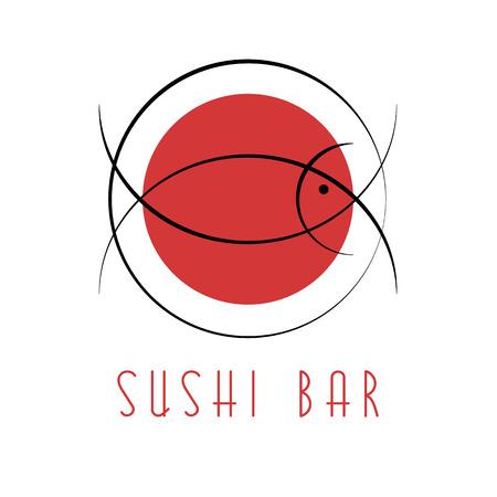 Sushi design-logo, abstracte vis tonijn, Japanse nationale voedsel