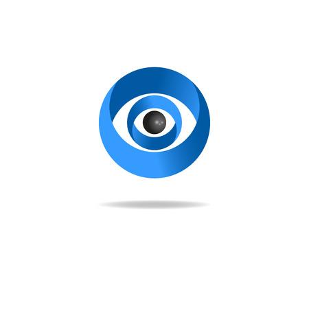 ojo humano: 3D ojo humano abstracto, los medios de comunicaci�n icono azul