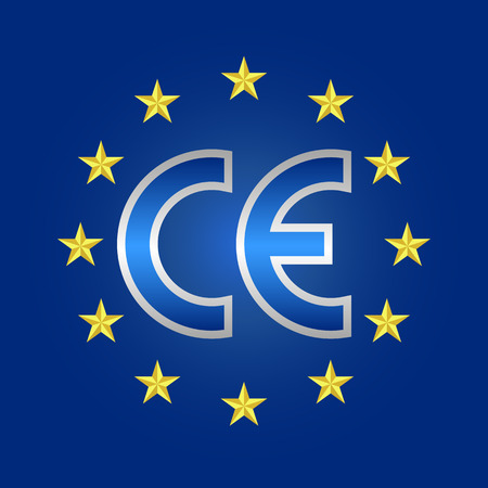CE-keurmerk, markering van overeenstemming teken Stock Illustratie