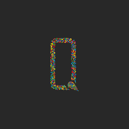 letter a: Letter Q of colorful circle design , graphic design