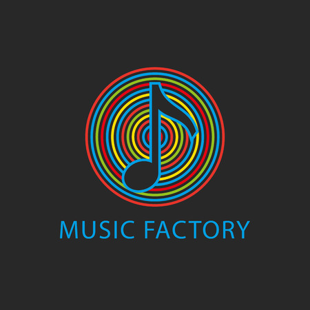 Music colorful logo template, design note icon