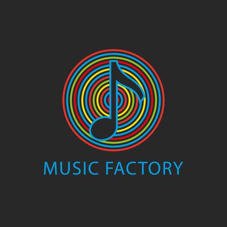 Muziek kleurrijke logo sjabloon, pictogram ontwerp notitie Stock Illustratie