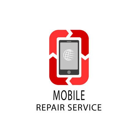 broken telephone: Repair service logo, fix mobile and tablet devices