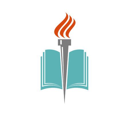 Boek en zaklamp, onderwijs of bibliotheek logo, pictogram universiteit