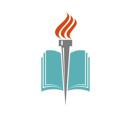 libraries: Book and torch, education or library logo, university icon