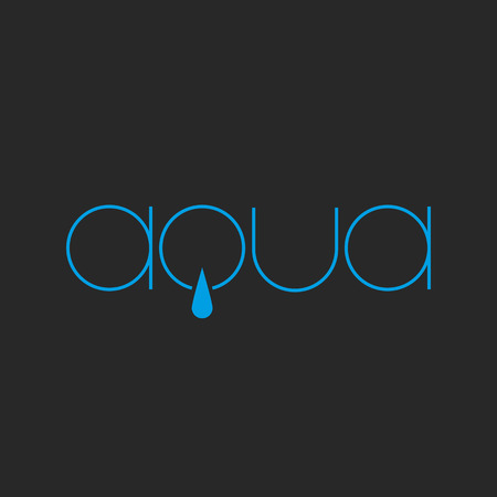 Aqua lettering logo of thin line, fresh water drop concept